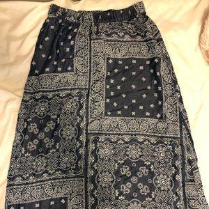Blue+white pattern Long Skirt!